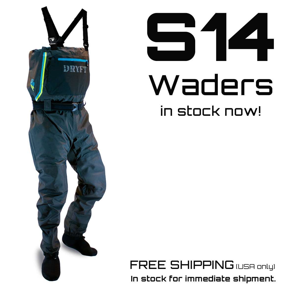 Dryft s14 waders in stock dryft fishing waders for Fishing waders reviews